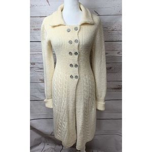 EUC FP Ivory Wool Cardigan With Buttons Medium